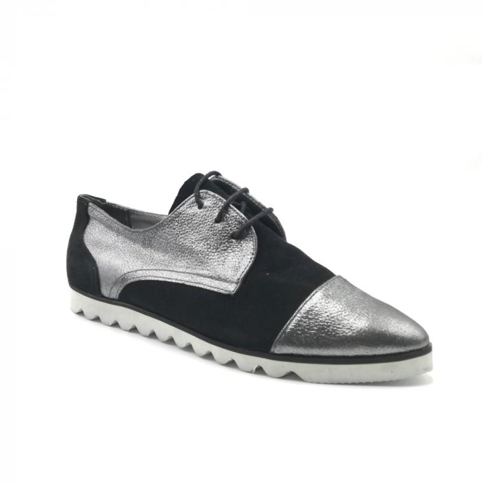 Pantofi dama cu talpa joasa negru cu argintiu din piele naturala 1