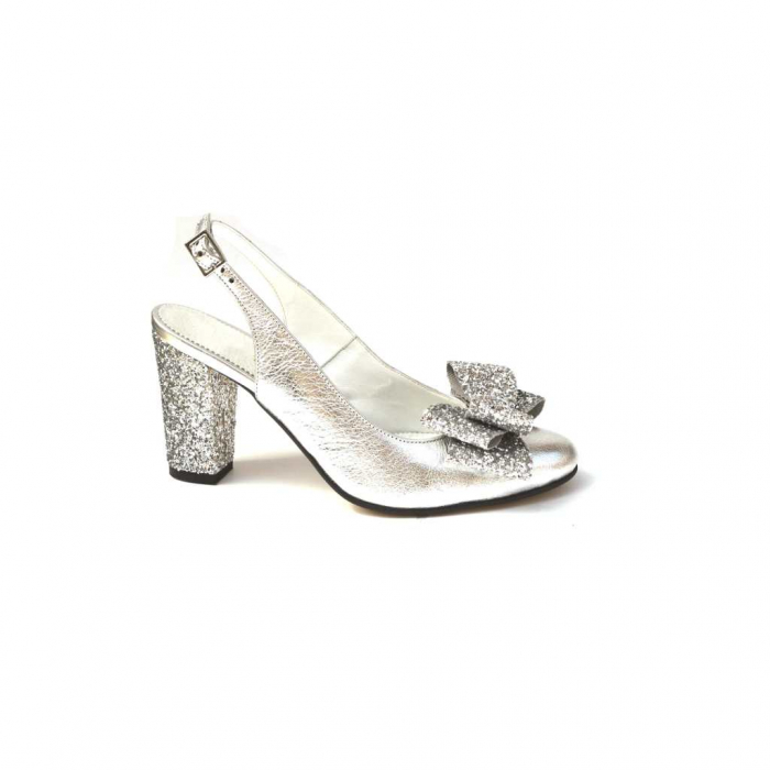 Pantofi dama cu toc glitter Silver Bow din piele naturala 0