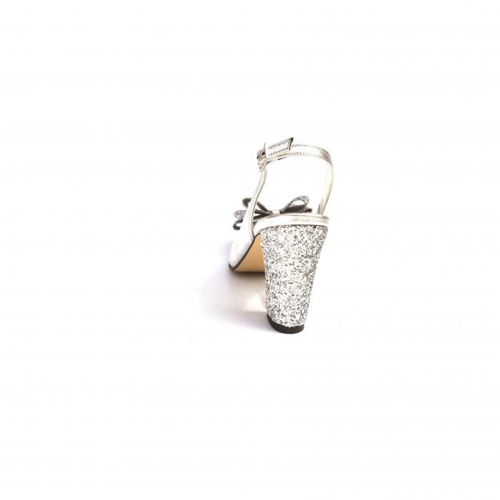Pantofi dama cu toc glitter Silver Bow din piele naturala 3