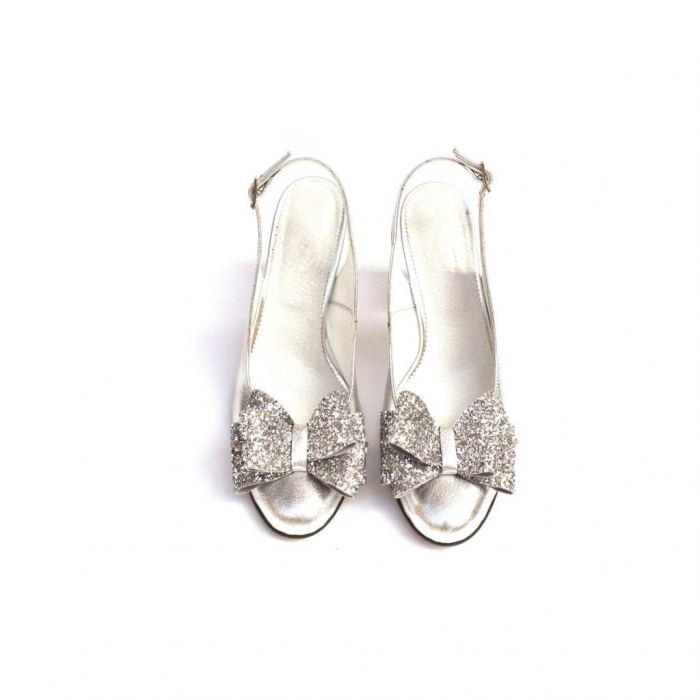 Pantofi dama cu toc glitter Silver Bow din piele naturala 2
