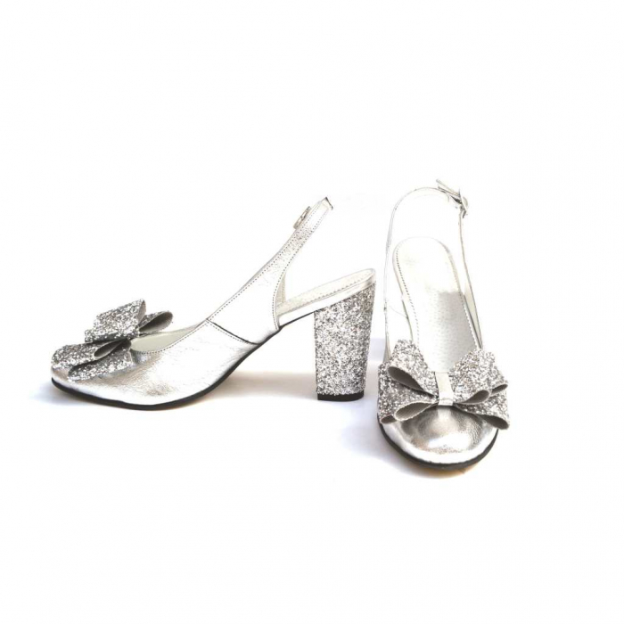 Pantofi dama cu toc glitter Silver Bow din piele naturala 1