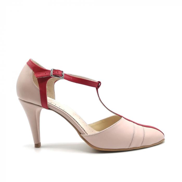 Pantofi dama cu toc subtire Pink Strap din piele naturala 0