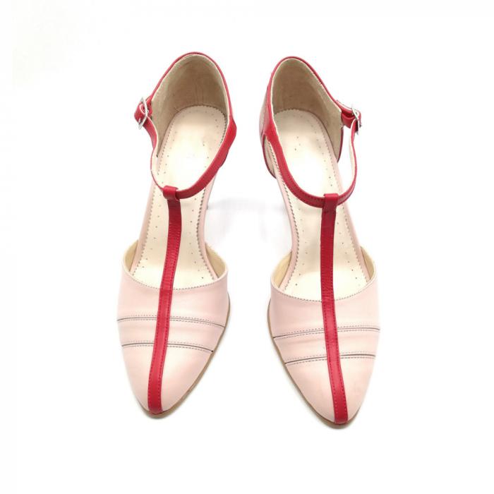Pantofi dama cu toc subtire Pink Strap din piele naturala 2