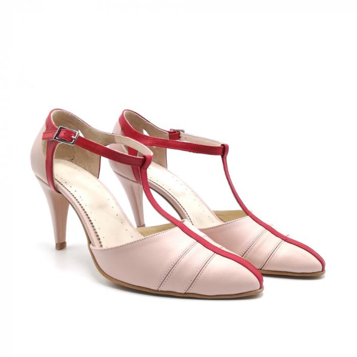 Pantofi dama cu toc subtire Pink Strap din piele naturala 1