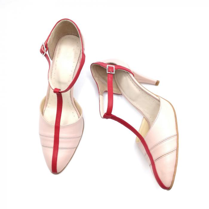 Pantofi dama cu toc subtire Pink Strap din piele naturala 3