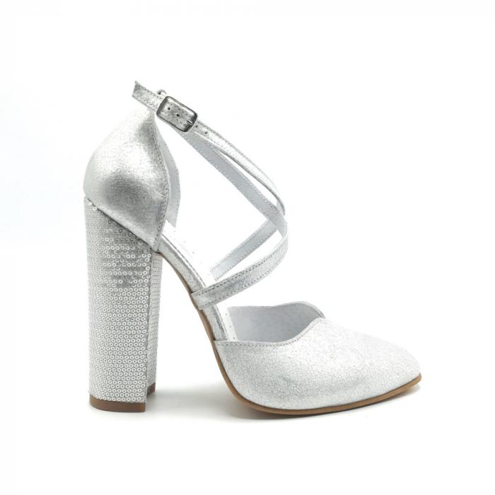 Pantofi dama cu toc gros Silver Sequins din piele naturala 0