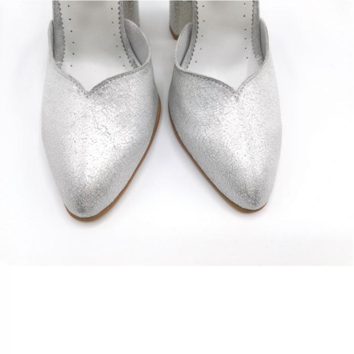 Pantofi dama cu toc gros Silver Sequins din piele naturala 4