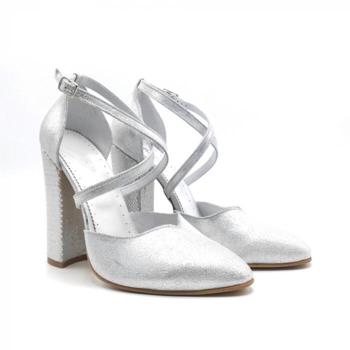 Pantofi dama cu toc gros Silver Sequins din piele naturala 1