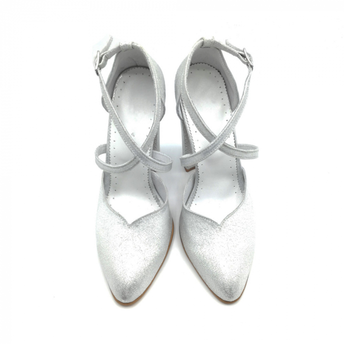 Pantofi dama cu toc gros Silver Sequins din piele naturala 2
