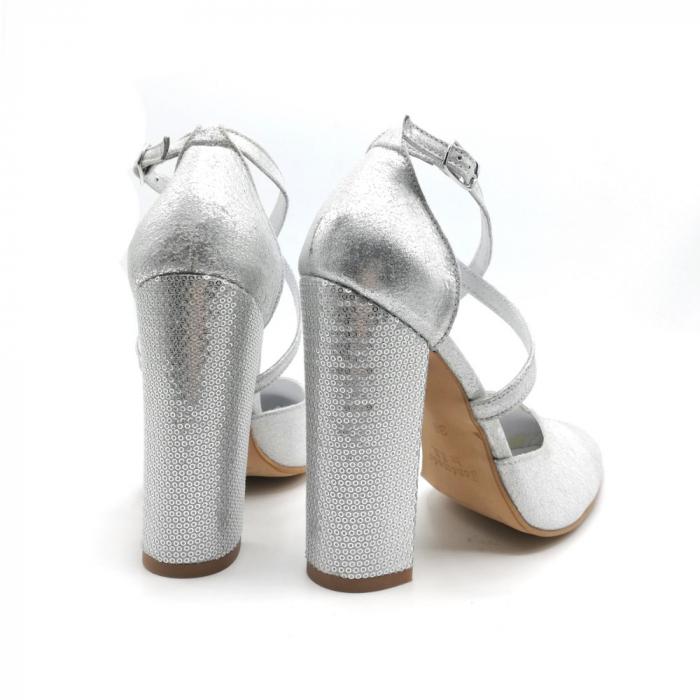 Pantofi dama cu toc gros Silver Sequins din piele naturala 3