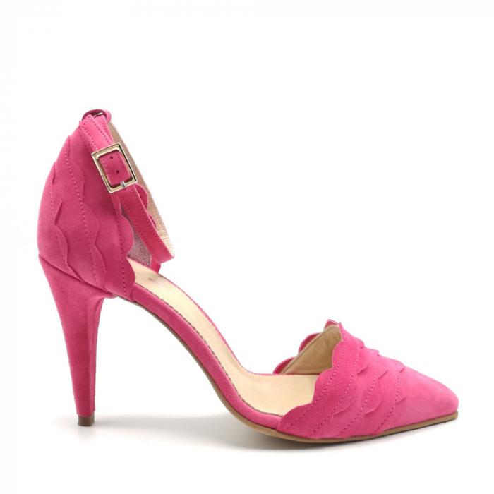 Pantofi dama cu toc stiletto Velvet Fuchsia din piele intoarsa 0