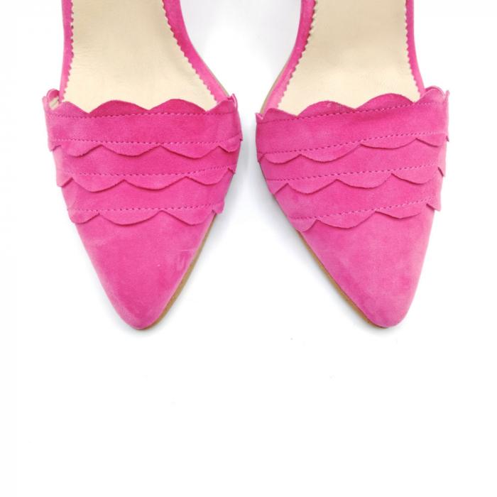Pantofi dama cu toc stiletto Velvet Fuchsia din piele intoarsa 4
