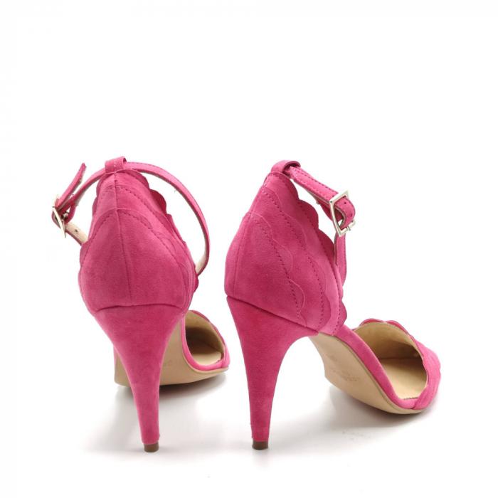 Pantofi dama cu toc stiletto Velvet Fuchsia din piele intoarsa 3