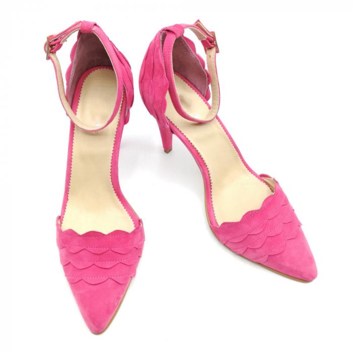 Pantofi dama cu toc stiletto Velvet Fuchsia din piele intoarsa 2