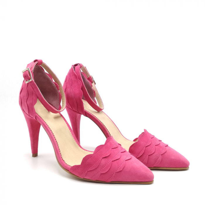 Pantofi dama cu toc stiletto Velvet Fuchsia din piele intoarsa 1