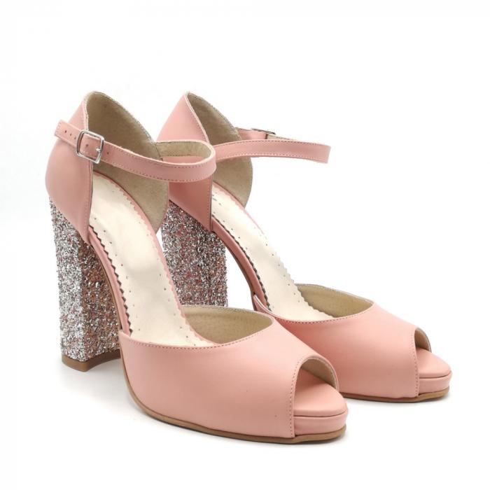 Sandale dama cu toc gros Pink Glitter din piele naturala 1