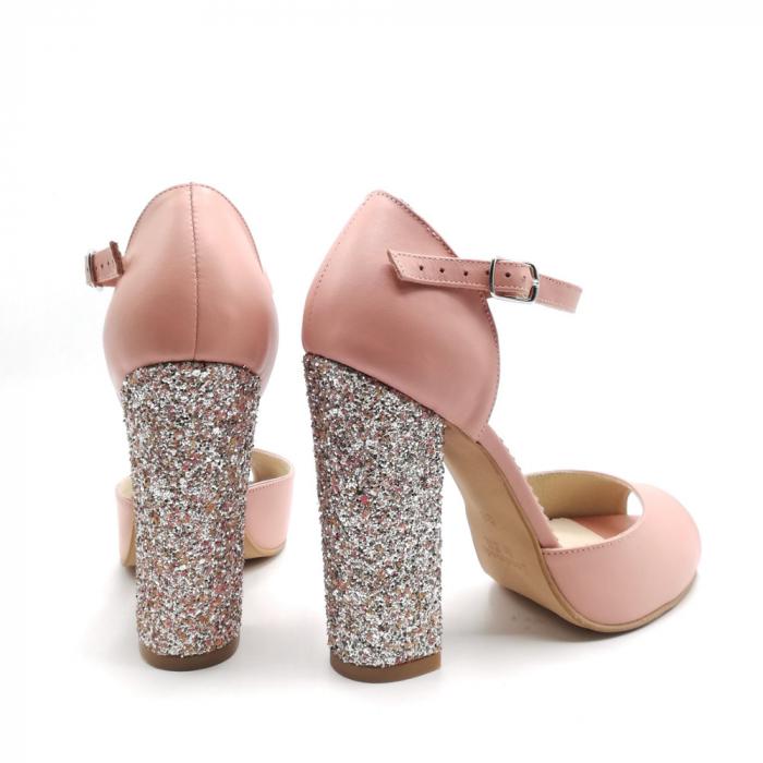 Sandale dama cu toc gros Pink Glitter din piele naturala 2