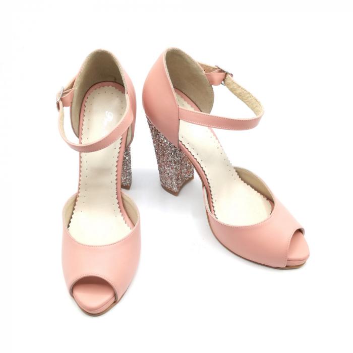 Sandale dama cu toc gros Pink Glitter din piele naturala 3