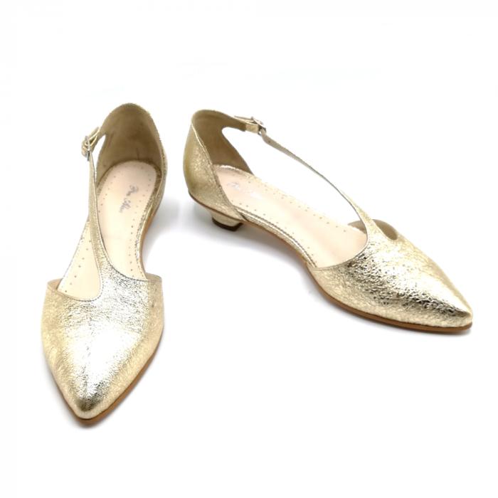 Pantofi dama cu toc jos Gold Texture din piele naturala 4