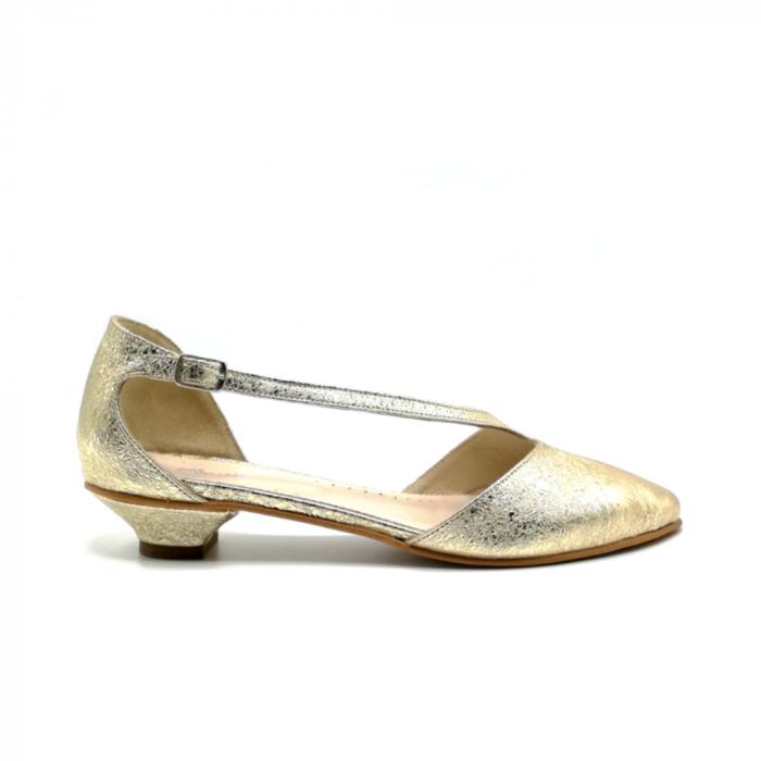 Pantofi dama cu toc jos Gold Texture din piele naturala 0