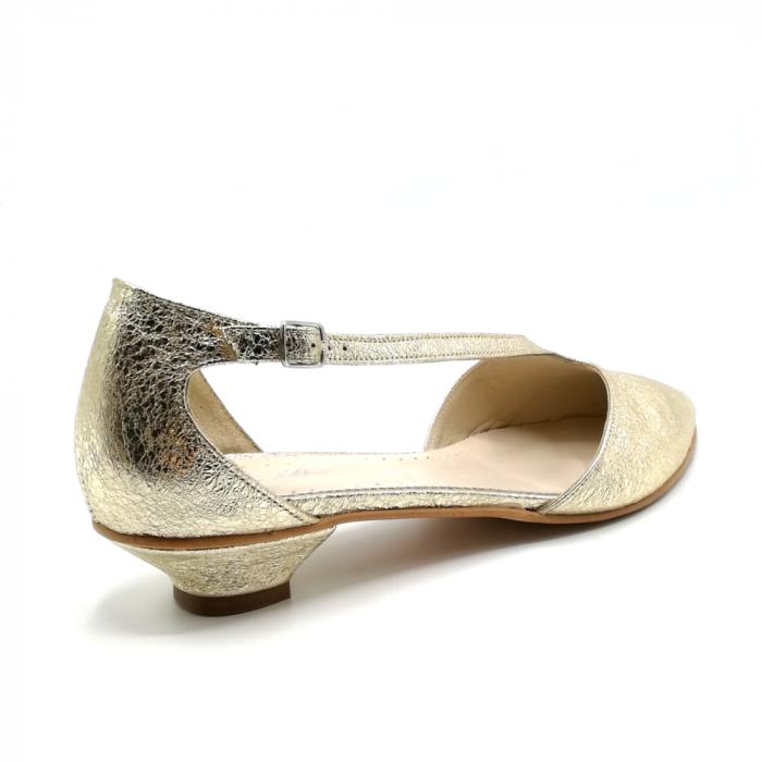 Pantofi dama cu toc jos Gold Texture din piele naturala 2