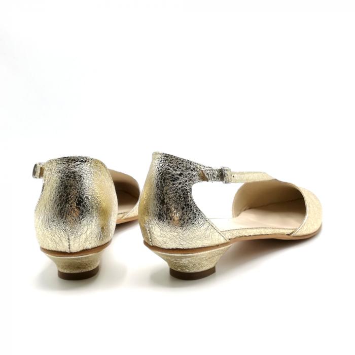 Pantofi dama cu toc jos Gold Texture din piele naturala 5