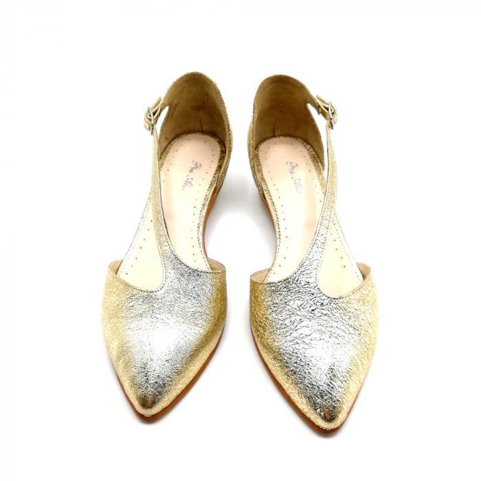 Pantofi dama cu toc jos Gold Texture din piele naturala 3