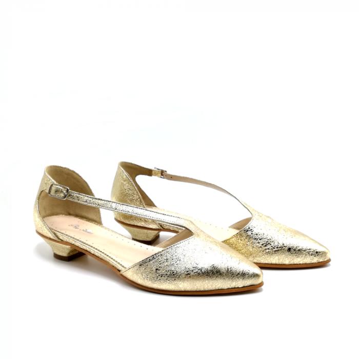 Pantofi dama cu toc jos Gold Texture din piele naturala 1