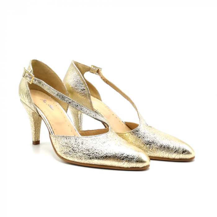 Pantofi dama cu toc Gold Texture din piele naturala 1