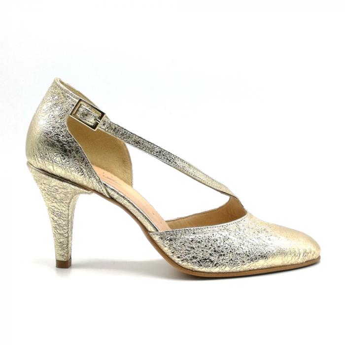 Pantofi dama cu toc Gold Texture din piele naturala 0