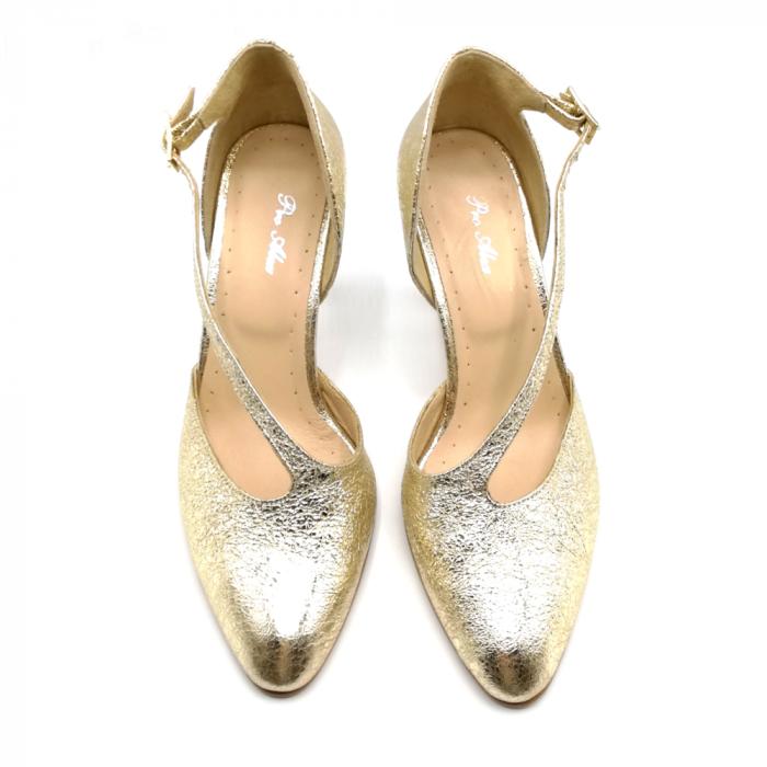 Pantofi dama cu toc Gold Texture din piele naturala 3