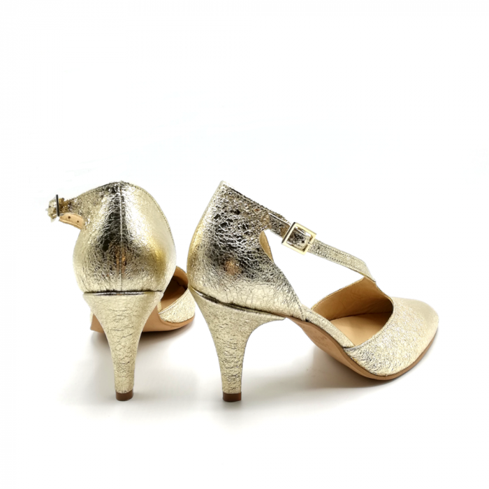 Pantofi dama cu toc Gold Texture din piele naturala 4