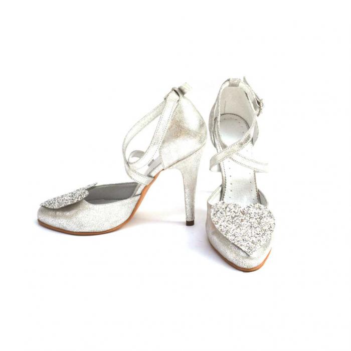 Pantofi dama cu toc Silver Heart din piele naturala 1
