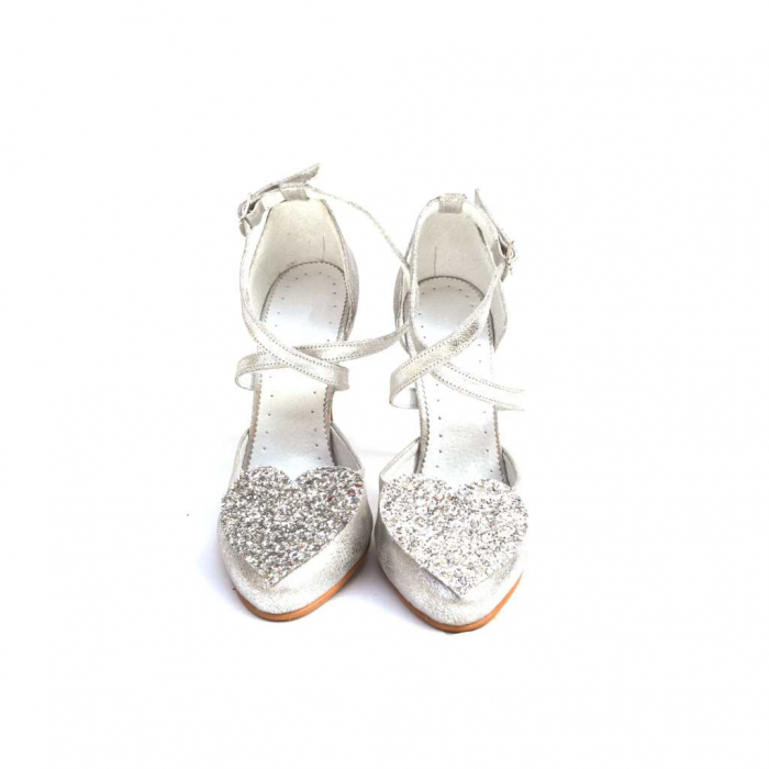 Pantofi dama cu toc Silver Heart din piele naturala 2