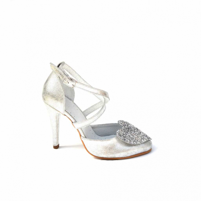 Pantofi dama cu toc Silver Heart din piele naturala 0