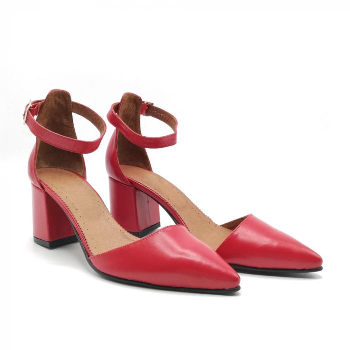 Pantofi dama cu toc gros Stylish Red din piele naturala 1