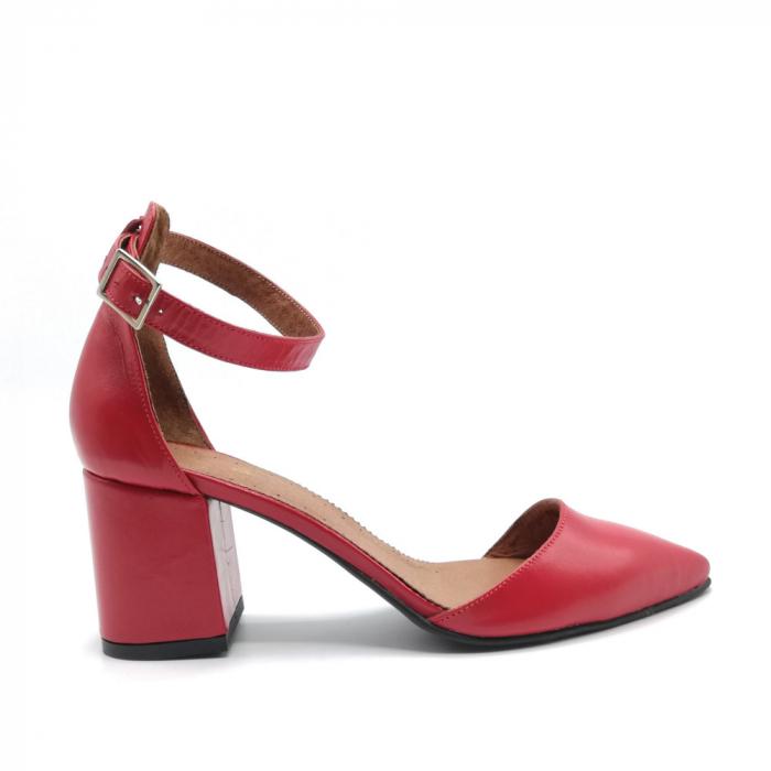 Pantofi dama cu toc gros Stylish Red din piele naturala 0