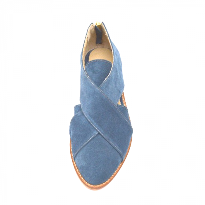 Pantofi dama din piele intoarsa Cross Blue 2