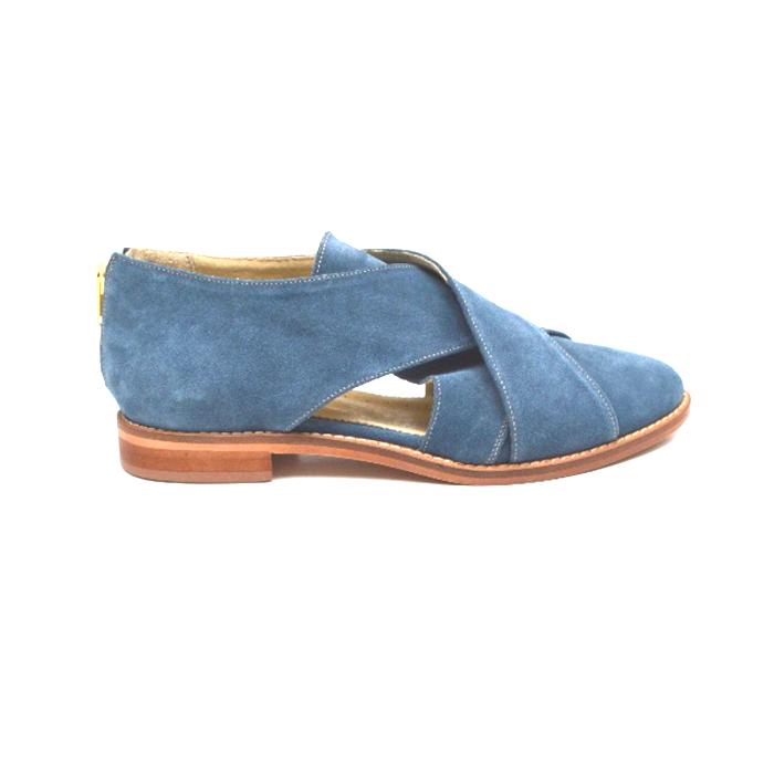 Pantofi dama din piele intoarsa Cross Blue 0