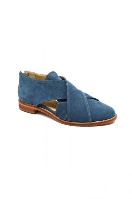 Pantofi dama din piele intoarsa Cross Blue 1