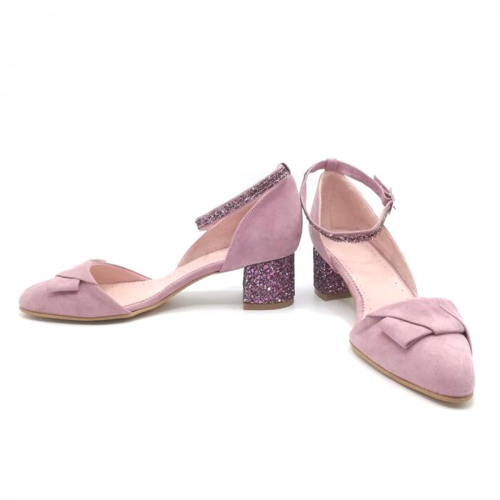Pantofi dama din piele intoarsa cu toc jos Purple Glitter 3