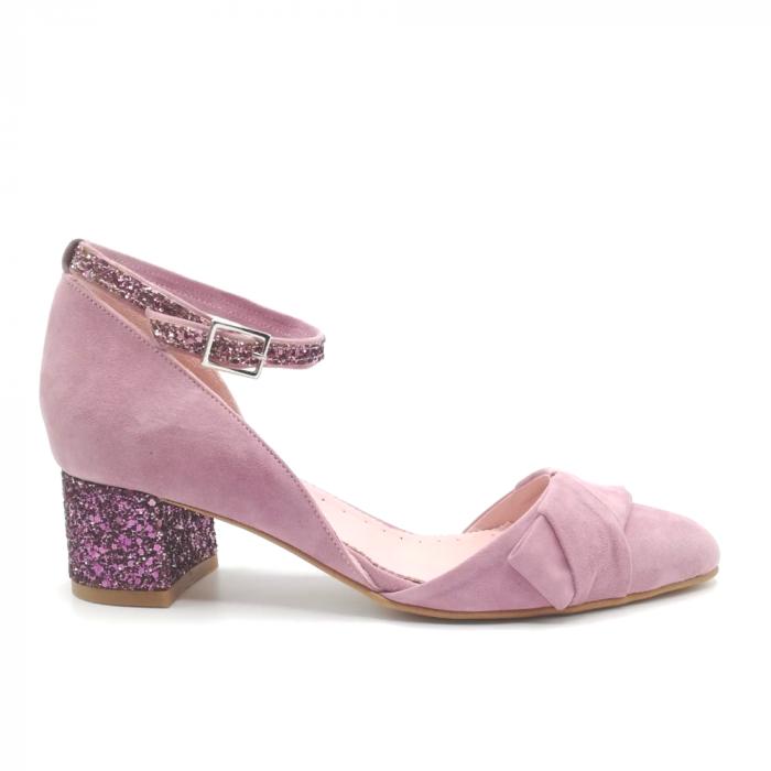 Pantofi dama din piele intoarsa cu toc jos Purple Glitter 0