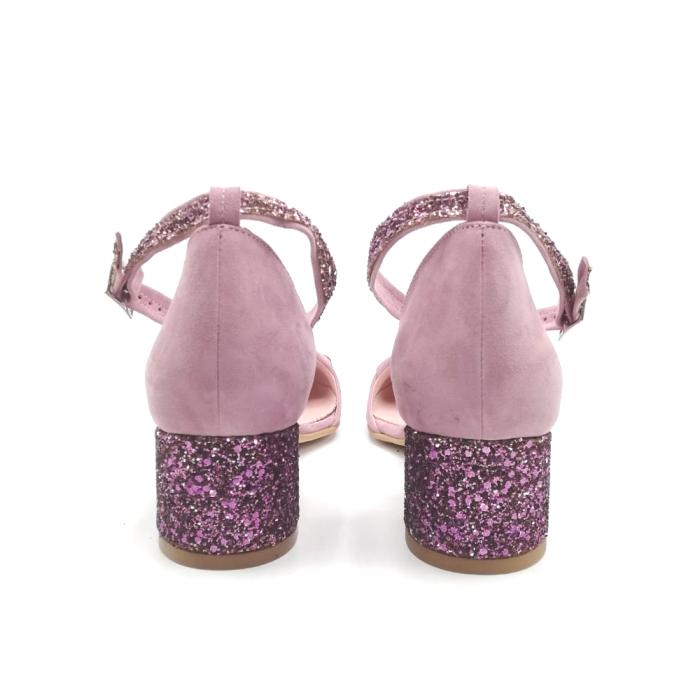 Pantofi dama din piele intoarsa cu toc jos Purple Glitter 2