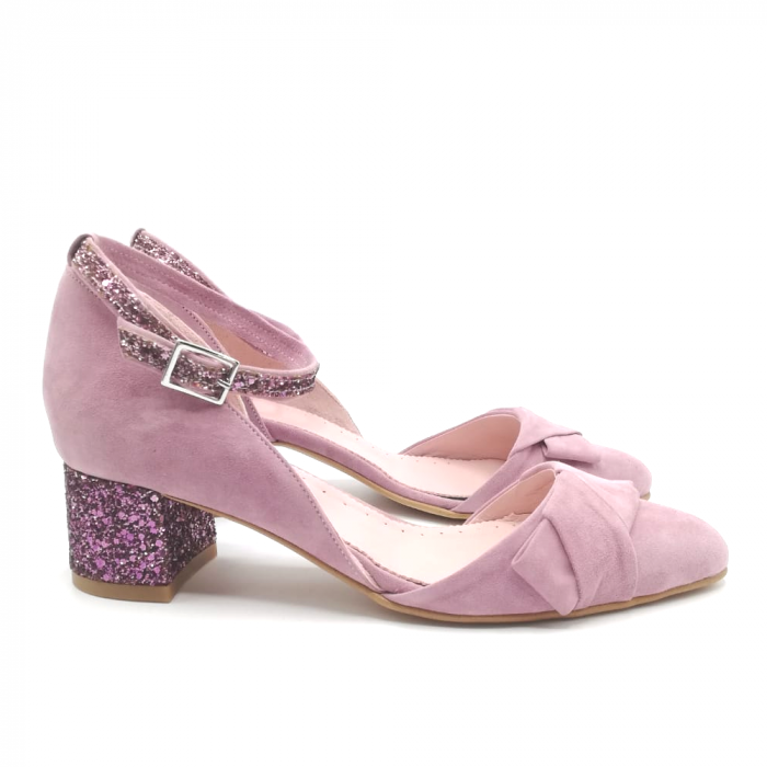 Pantofi dama din piele intoarsa cu toc jos Purple Glitter 1