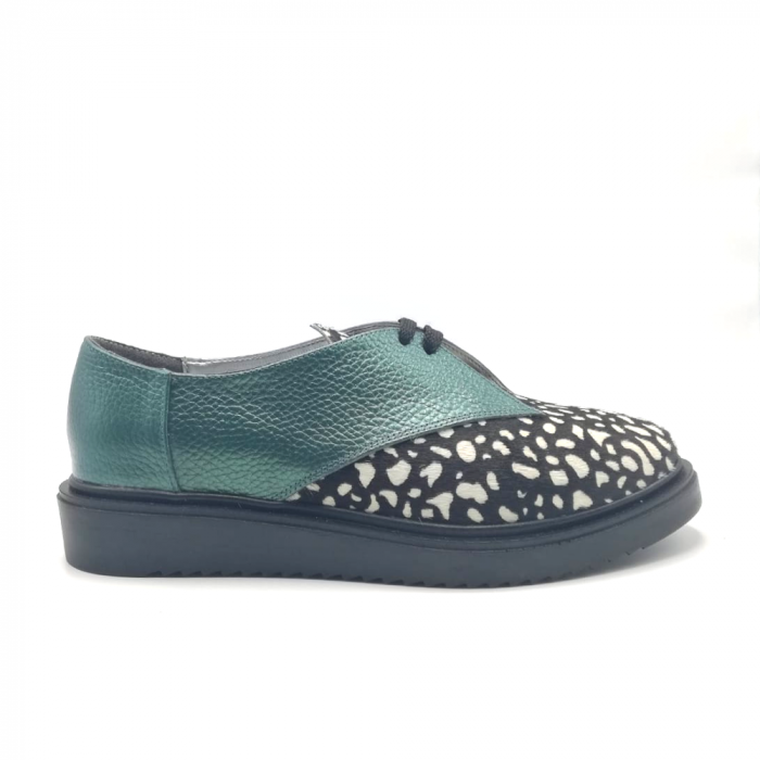 Pantofi dama din piele naturala verde cu ponei White Dots 0