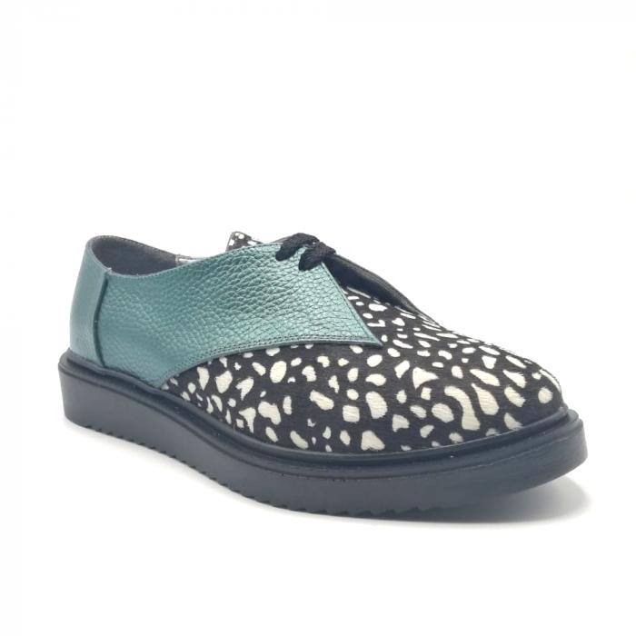 Pantofi dama din piele naturala verde cu ponei White Dots 1