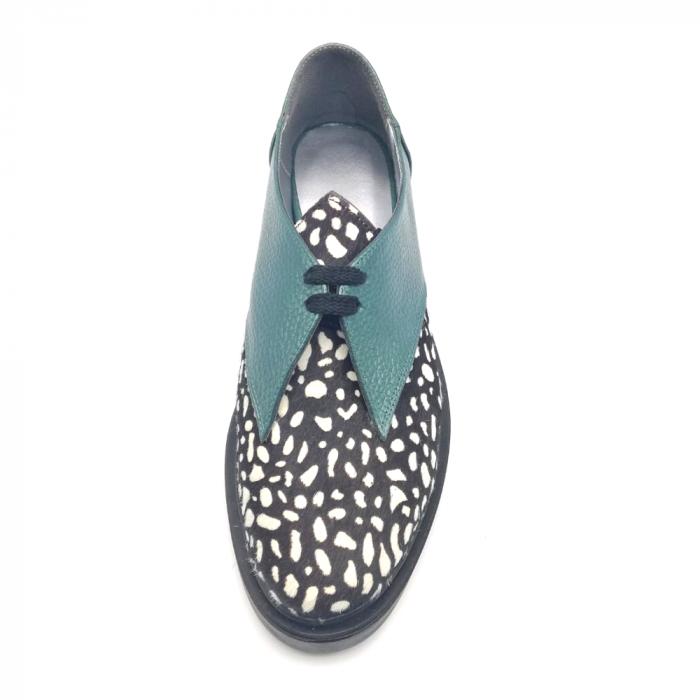 Pantofi dama din piele naturala verde cu ponei White Dots 3