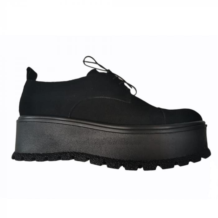 Pantofi dama din piele naturala cu platforma Black [0]