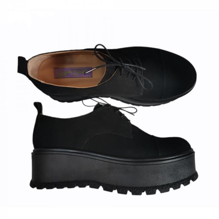 Pantofi dama din piele naturala cu platforma Black [1]