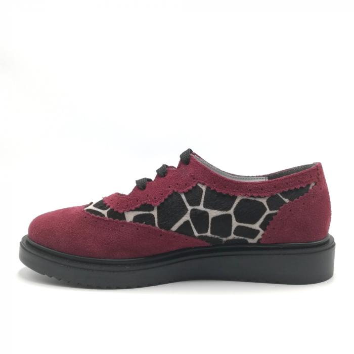 Pantofi dama din piele naturala grena cu ponei animal print 2